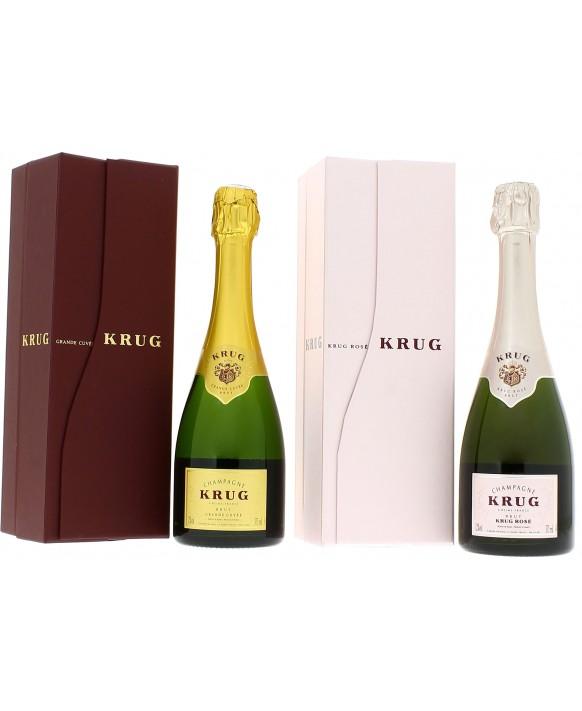 Champagne Krug Casket doubly half-bottle Grande Cuvée and Rosé krug