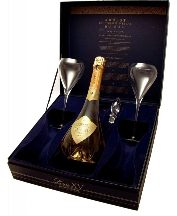 Champagne De Venoge Cuvée Louis XV Rosé 2002 and 2 flûtes