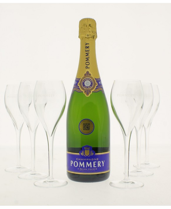 Champagne Pommery Brut Royal and 6 free flûtes 75cl