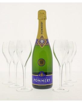 Champagne Pommery Brut Royal et 6 flûtes offertes