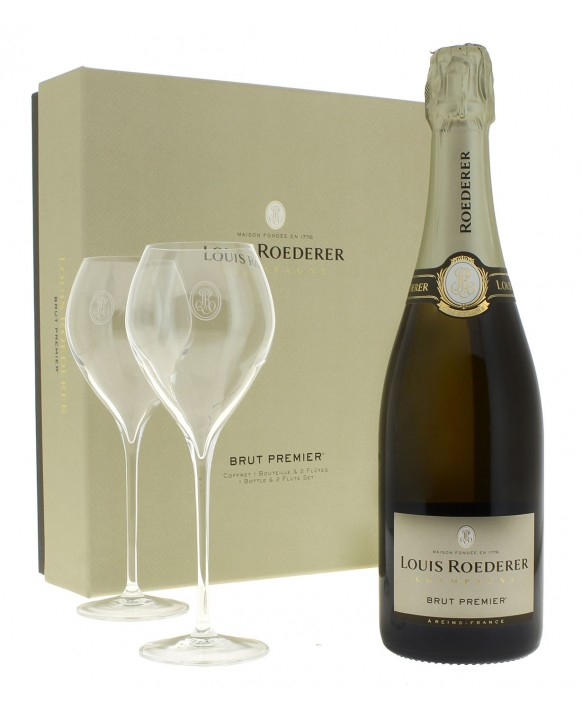 Champagne Louis Roederer Casket Brut Premier and two flûtes