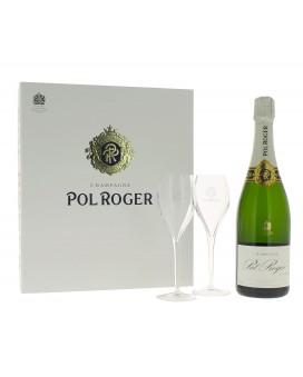 Champagne Pol Roger Brut Réserve et deux flûtes