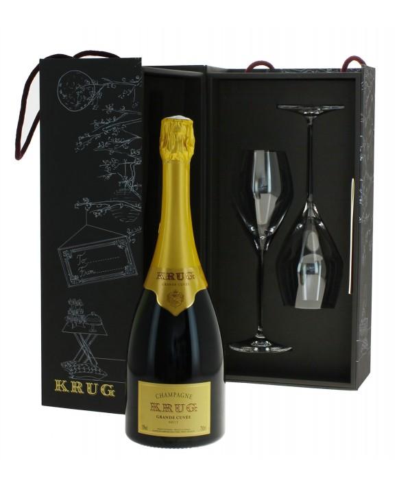 Champagne Krug Casket la Grande Cuvée half bottle and 2 flûtes 75cl