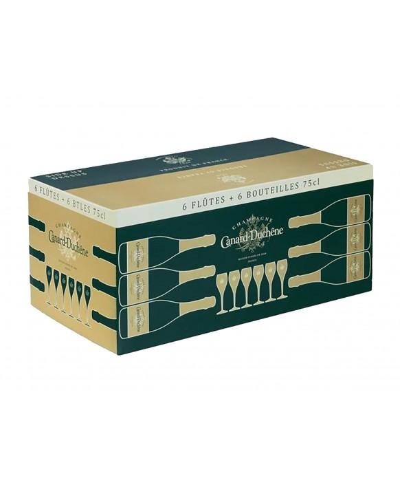 Champagne Canard Duchene Cuvée Léonie Brut et 6 flûtes offertes 75cl