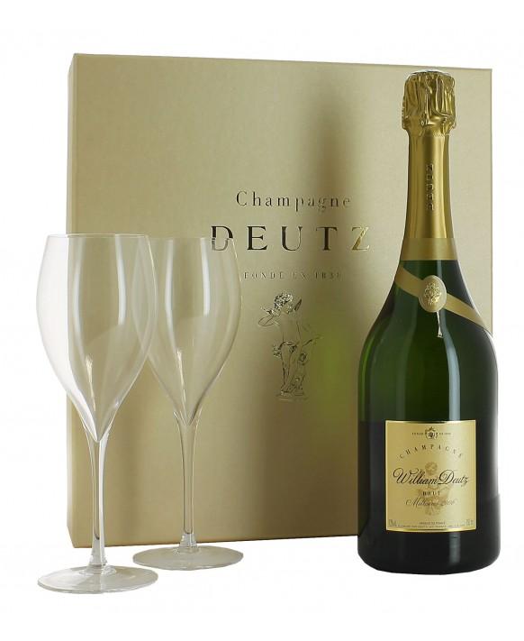 Champagne Deutz Casket Cuvée William Deutz 2006 and 2 flûtes 75cl