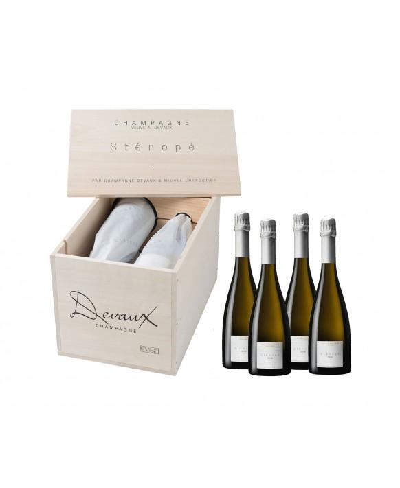 Champagne Devaux Sténopé 2008 4 bouteilles en caisse bois 75cl
