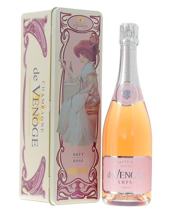 Champagne De Venoge Rosé coffret métal art deco 75cl
