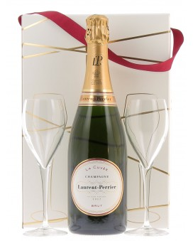 Champagne Laurent-perrier La Cuvée Brut and two flûtes