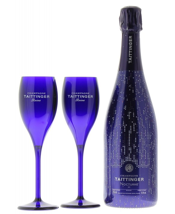 Champagne Taittinger Nocturne sleeve and two flûtes