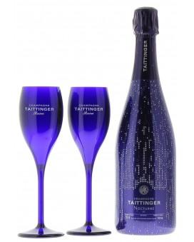 Champagne Taittinger Nocturne sleeve et deux flûtes