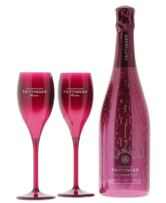 Champagne Taittinger Nocturne Rosé sleeve and two flûtes
