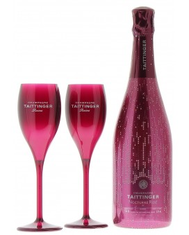 Champagne Taittinger Nocturne Rosé sleeve et deux flûtes