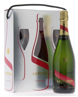 Champagne Mumm Casket Cordon Rouge and two flûtes