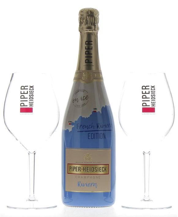 Champagne Piper - Heidsieck Riviera et deux verres