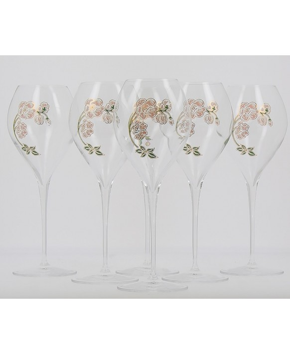 Champagne Perrier Jouet Six new glasses Belle Epoque