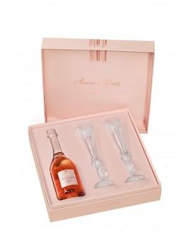 Champagne Deutz Amour de Deutz Rosé 2009 et deux flûtes