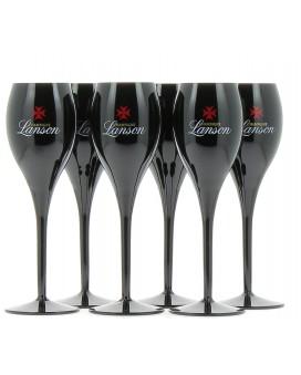 Champagne Lanson Six black Champagne flûtes