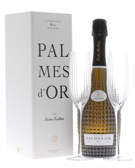 Champagne Nicolas Feuillatte Palmes d'Or 2008 and 2 flûtes