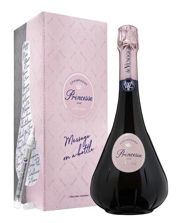 Champagne De Venoge Princesse Rosé message on a bottle