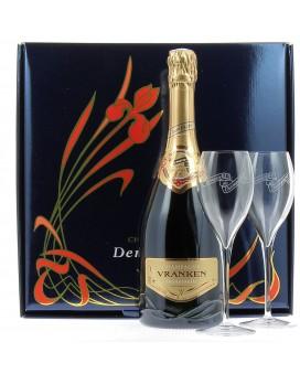 Champagne Demoiselle Brut EO Tête de Cuvée et deux flûtes