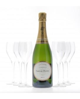 Champagne Laurent-perrier 6 cuvee brut et 6 flutes