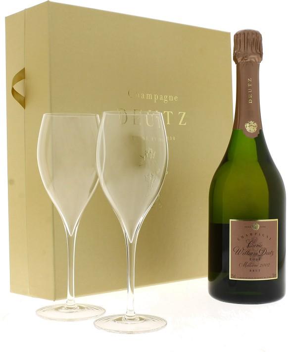 Champagne Deutz Cuvée William Deutz Rosé 2002 et 2 flûtes 75cl