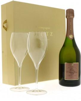 Champagne Deutz Cuvée William Deutz Rosé 2002 and 2 flûtes